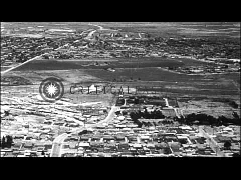 First flight of the Douglas XB-19, at Clover Field, Santa Monica, California HD Stock Footage