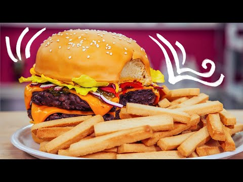 How To Make A GIANT CHEESEBURGER & FRIES out of CAKE | Yolanda Gampp | How To Cake It