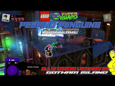 Lego DC Super-Villains: Peeping Penguins CHALLENGE (All 10 Camera Locations) - HTG