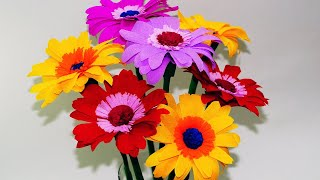 How to make Gerbera Paper Flower   Very Easy   Paper Craft