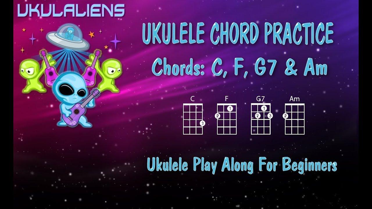 Ukulele Chord Practice Play Along - C F G7 Am - Very Easy