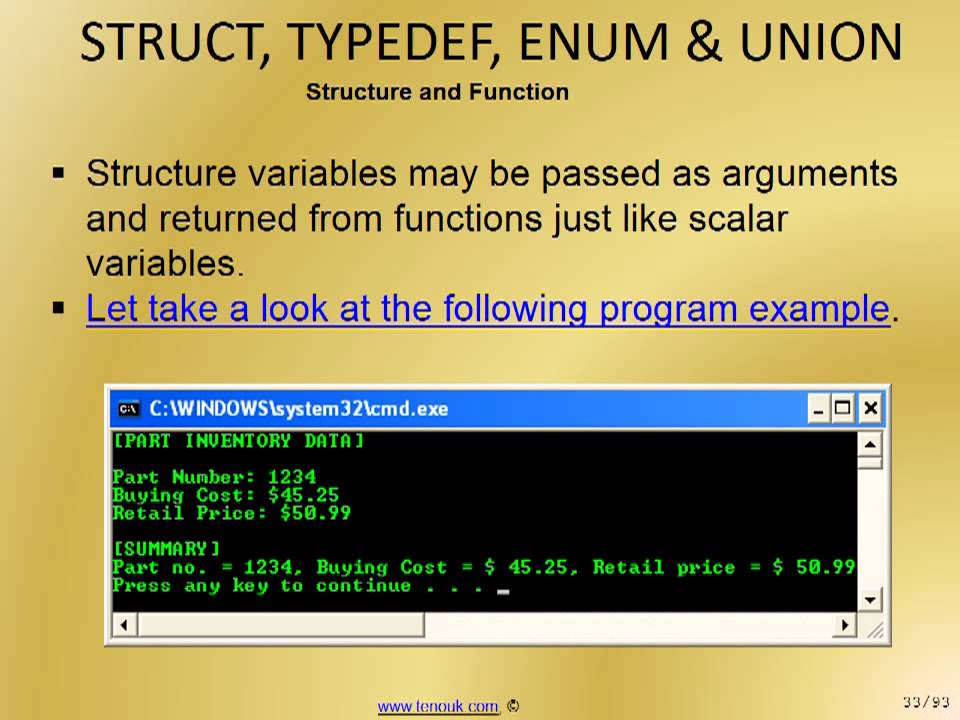 Union example program in c.