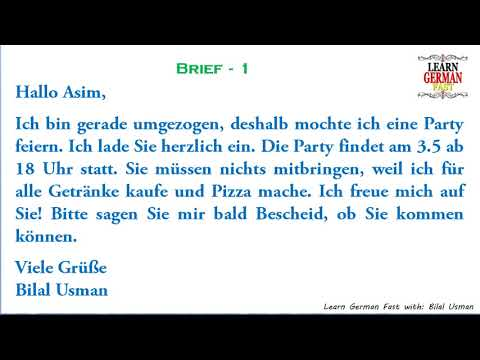 German Brief 1 A1 A2 B1 B2 C1 C2 Youtube