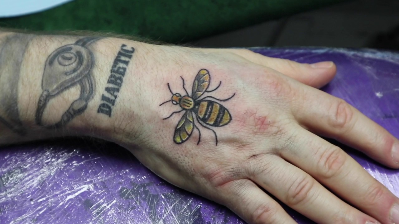 Manchester bee tattoo charity day youtube for Bee tattoo manchester