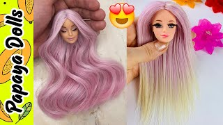 Barbie Doll Hairstyles👸Best Hair Tutorial for Barbie Doll 👸 Doll Hair Transformation Cut and Reroot