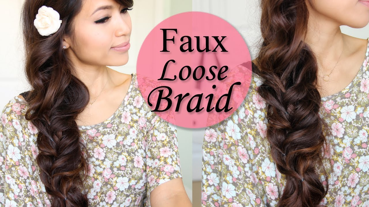 How To Faux Loose Braid Curly Hairstyle For Long Hair Tutorial