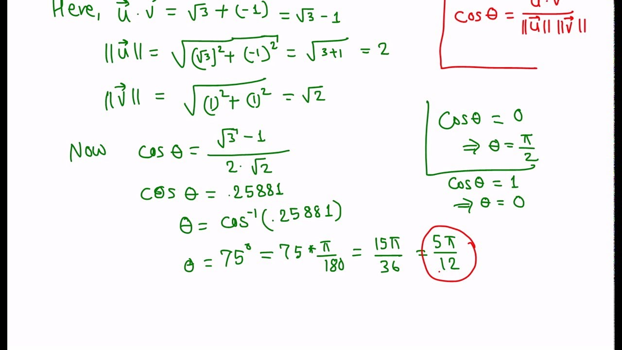 Trigonometry: Finding the angle between two vectors example - YouTube