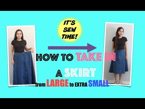 Thrift Find Quick Fix How To Take In A Skirt From Size Large To