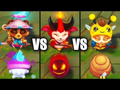 Spirit Blossom Teemo vs Beemo vs Little Devil Teemo Epic Skins Comparison (League of Legends)