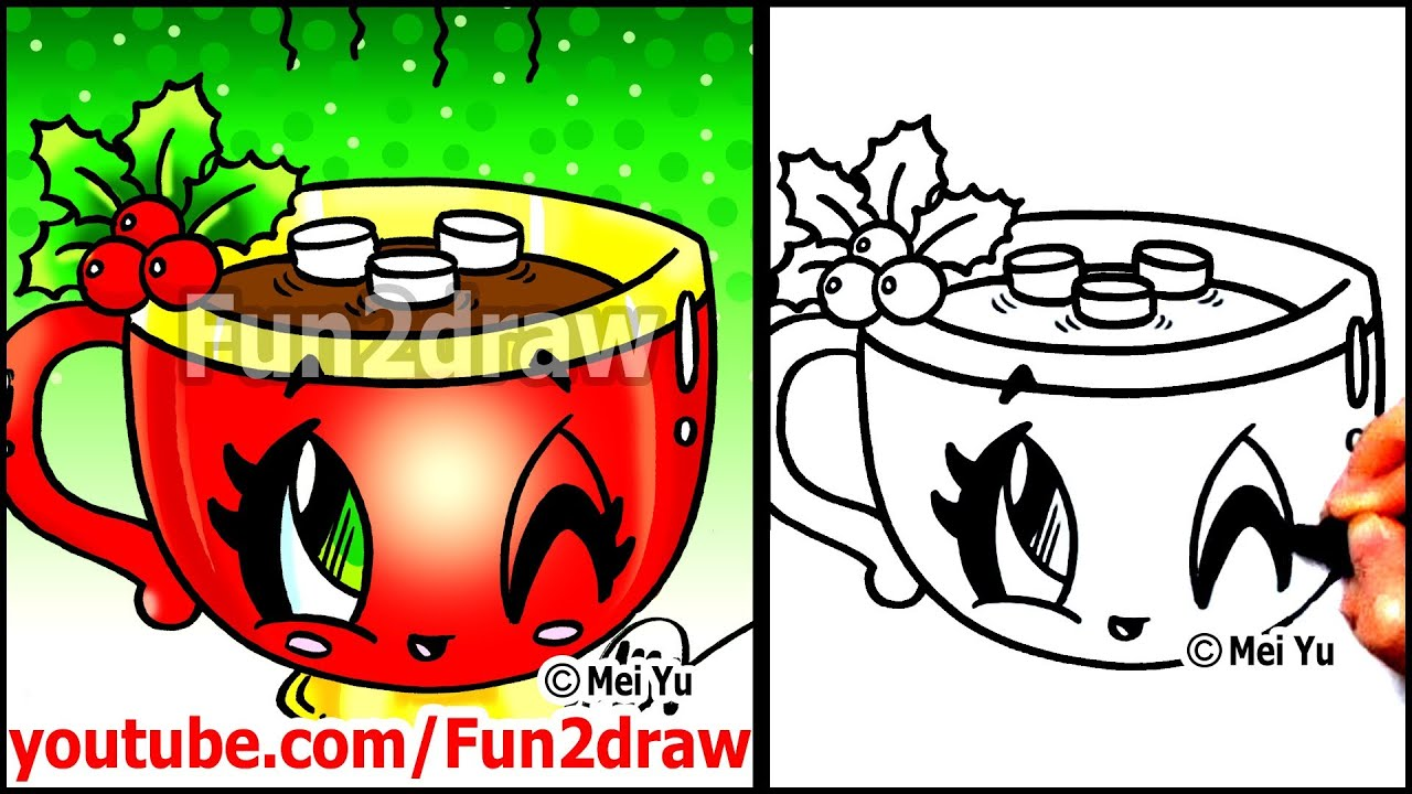 How to Draw Food + Drinks - Hot Chocolate with Marshmallows ...