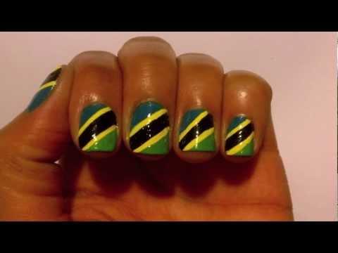 Nail art tutorial tz flag youtube nail art tutorial tz flag prinsesfo Images