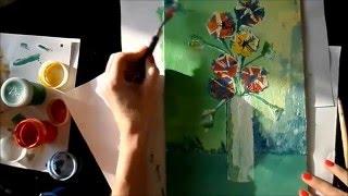 Мастер-класс: рисуем цветы гуашью,кисть+мастихин