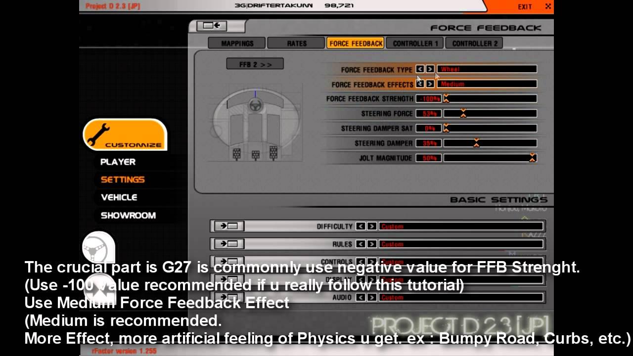 Basic Setting of Logitech G27 Steering Wheel for 900 Steering Degrees Drifting (LFS & rFactor ...