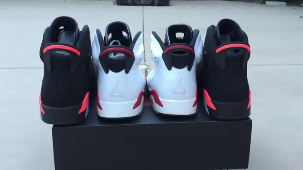 17737bd1db8 Jordan Black Infrared 6 2014 v. Jordan White Varsity Red 6 2010 COMPARISON