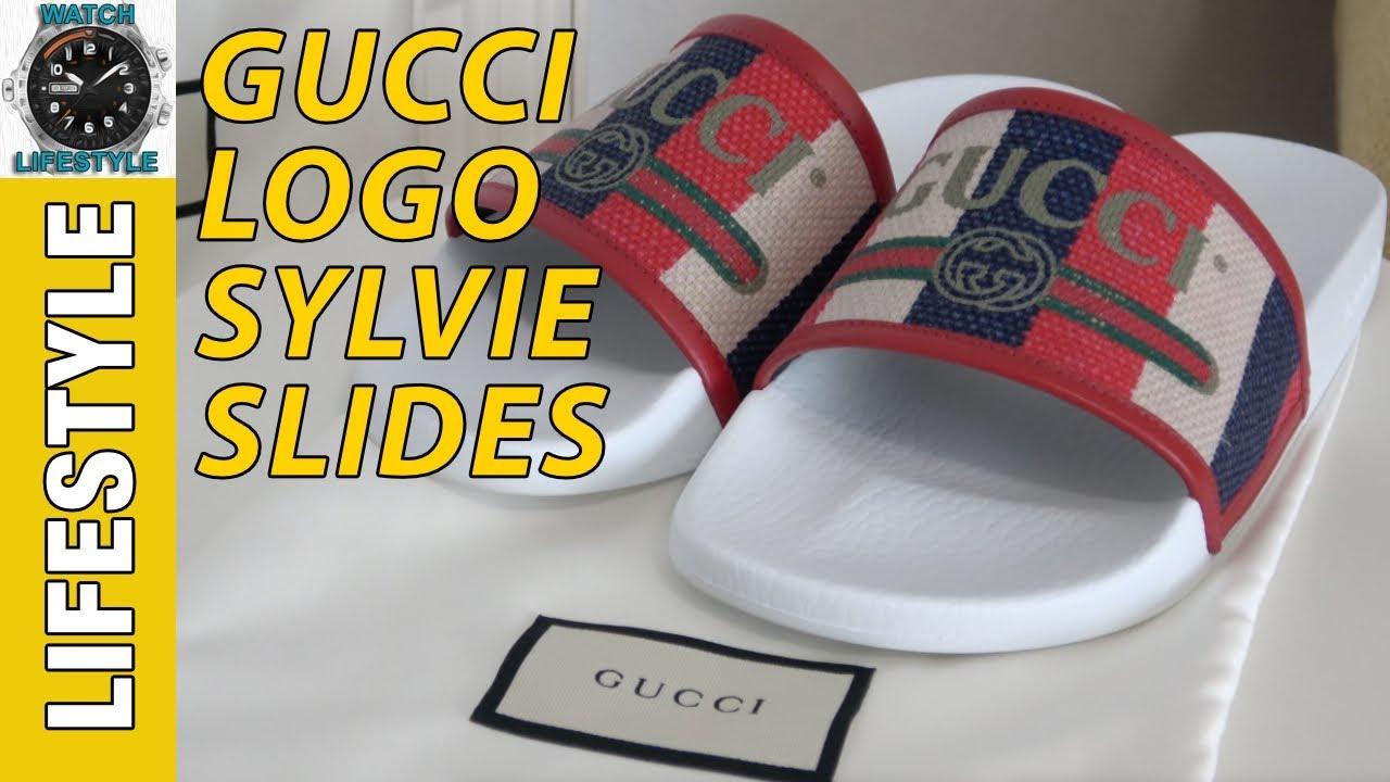 2c89b35ce Gucci Logo Sylvie Slide Sandal Review - YouTube