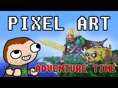 Minecraft - Pixel Art - Adventure Time - Finn y Jake