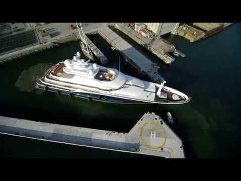 85.6m Aquila at Pendennis Shipyard, Falmouth