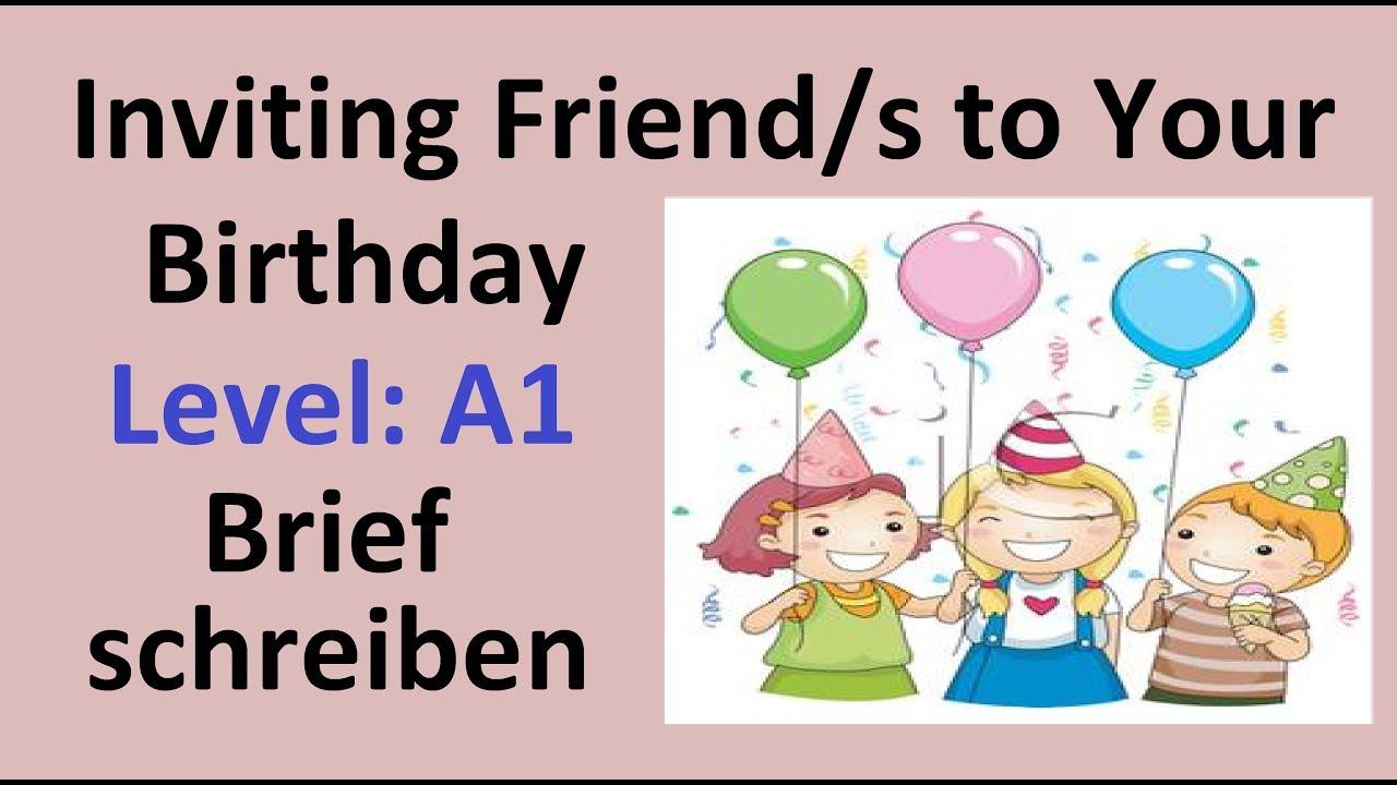 inviting friend s to your birthday learn german in urdu hindi brief schreiben