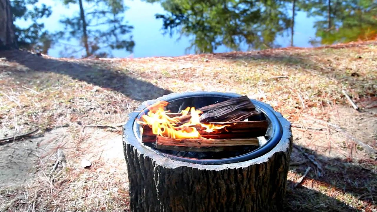 Stump Fire Pit Sku 13651 Plow Hearth Youtube
