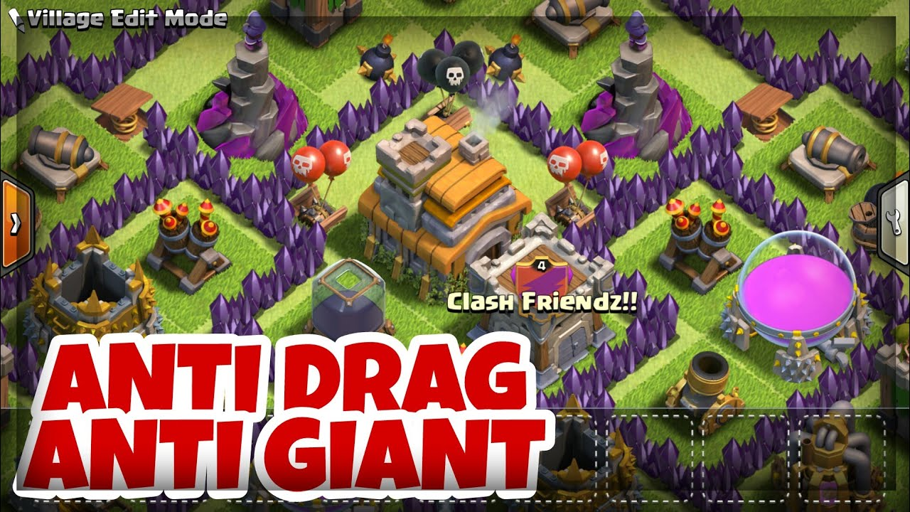 Best Th7 War Base Anti Drag Anti Giant Town Hall 7 Trophy Base Layout Clash Of Clans Youtube