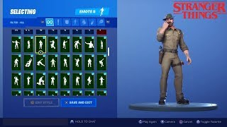 (New Chief Hopper Skin!) With all my Fortnite Emotes!