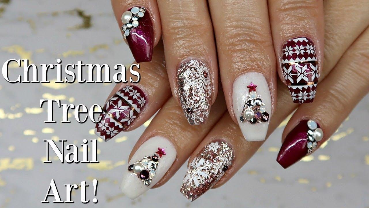 Christmas Nails Gel.Christmas Tree Gel Nail Art Day 4