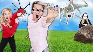 Matt and Rebecca vs Drone Battle RZ Twin Trap! (Searching for 24 hours Hidden Game Master Clues irl) Video