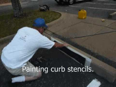 Painting 4 Inch Wording On Curb With Airless Striping