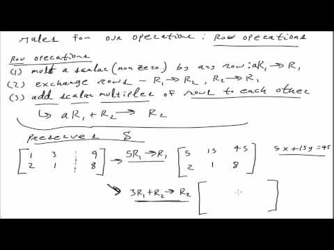 Gaussian elimination: matrices and row operations
