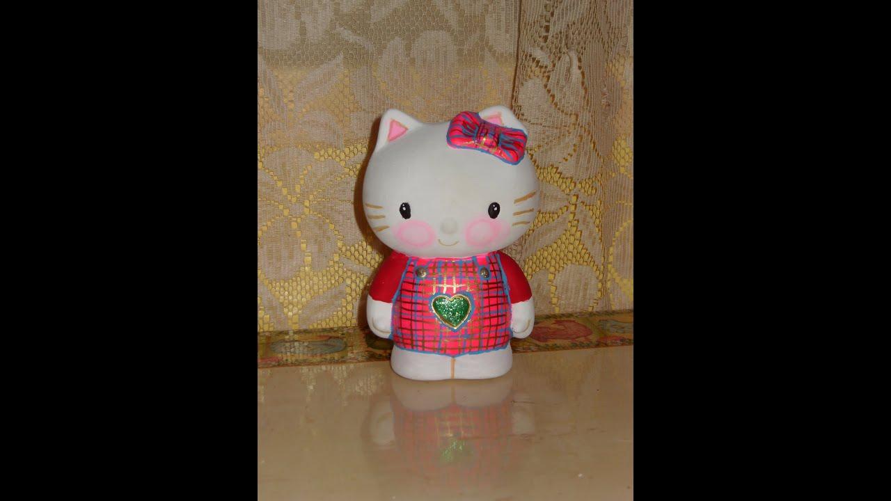 Diy c mo pintar una hello kitty en cer mica youtube for Como pintar jarrones de ceramica