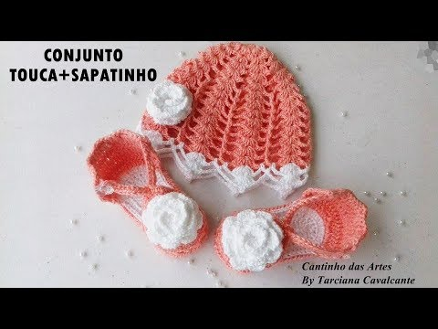dfb1ec2ceef19 Conjunto Touca e Sapatinho de Crochê- Parte 1  Touca - YouTube