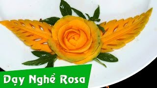Tỉa rau củ: mẫu hoa hồng từ bí đỏ