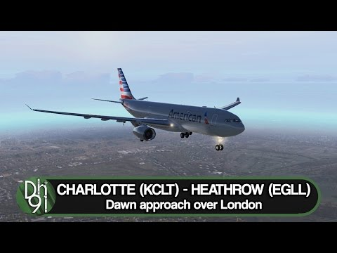 X-Plane 11 Full Flight l Lovely morning approach over London l KCLT ✈ EGLL l JAR A330