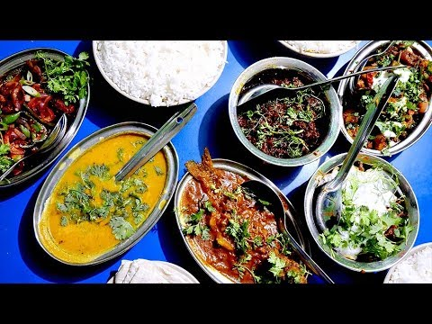 Eating INDIAN FOOD At An Assamese Dhaba - Pork, Mutton & Fish | Guwahati, Assam, India