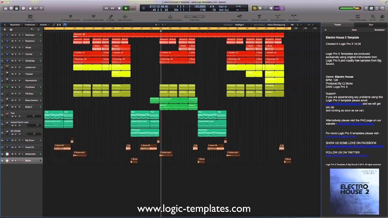 Electro House 2 Logic Pro X Template - YouTube