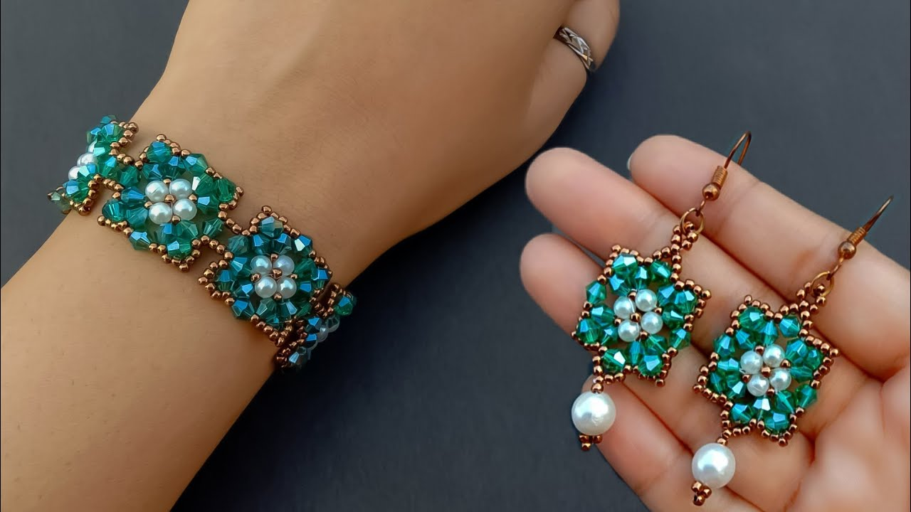 How To Make Jewelry With Crystals//Bracelet & Earrings//Beaded Jewelry// Useful & Easy