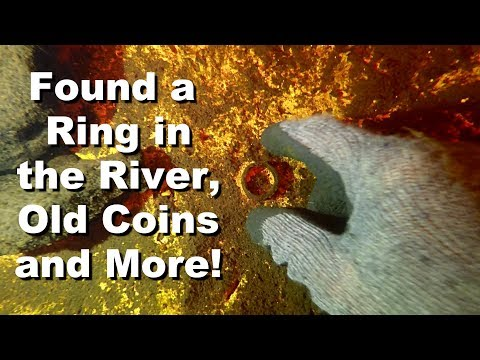Found a Ring and Old Coins in the River While Treasure Hunting and Metal Detecting Underwater