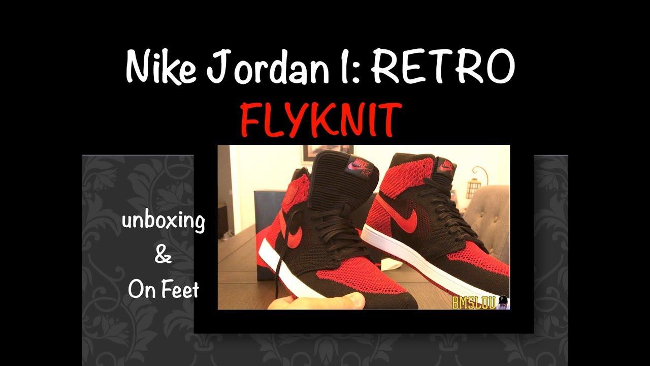 best sneakers e7f80 623c7 Air Jordan 1 FLYKNIT BRED Retro BANNED HI Sneaker