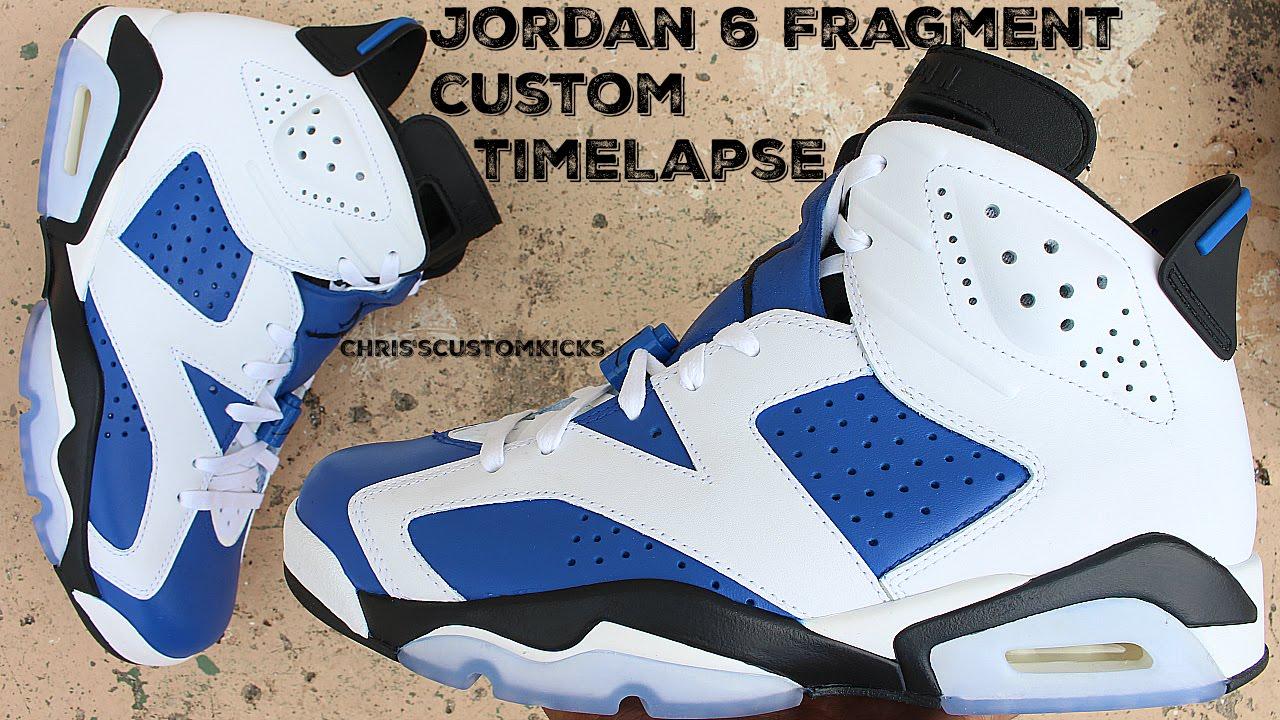 3050c7875116 Jordan 6 Fragment Custom Full Tutorial Timelapse - YouTube
