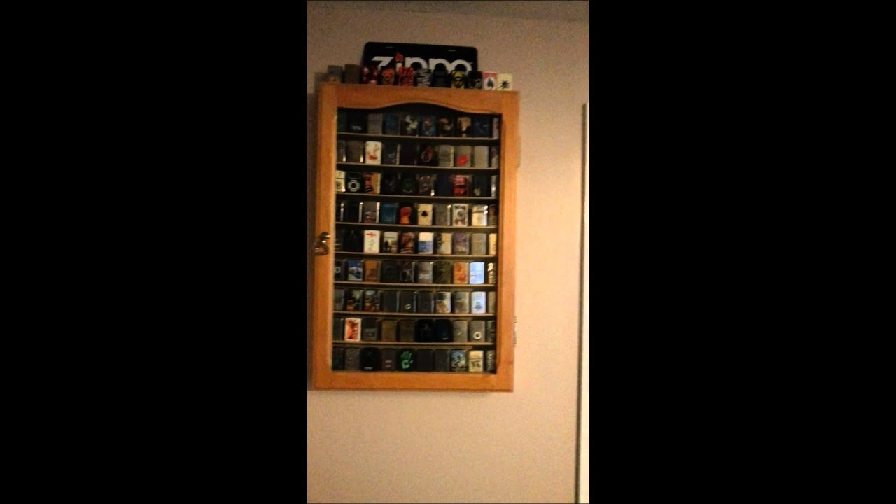 MY Zippo Lighter Display Collection Cabinet Over 100 Zippos Rack Case Part 2