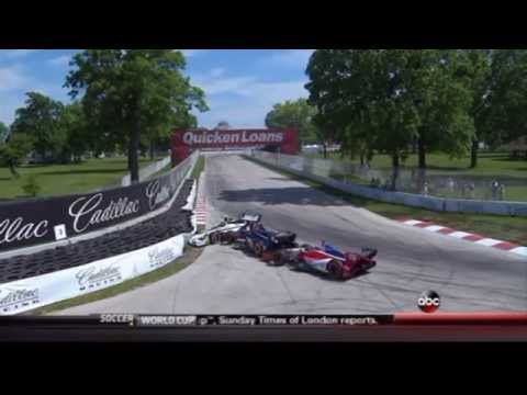 2014 Indycar Detroit Grand Prix (Race 2) - Josef Newgarden, Graham Rahal, and Justin Wilson crash
