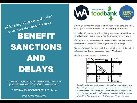 Benefit Sanctions & Delays: presentation at Wandsworth Foodbank