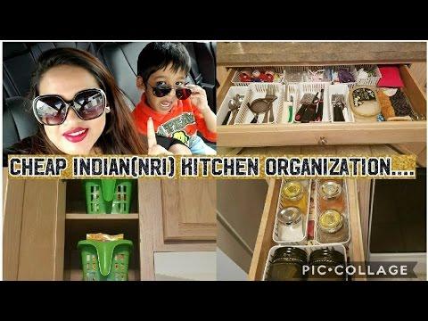 Cheap Indian (NRI) Kitchen Tour || Dollar tree Kitchen Organization Ideas and Tips ||