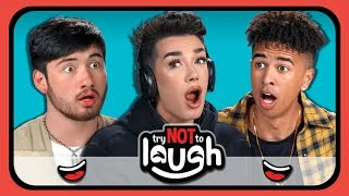 youtubers react to try to watch this without laughing or grinning 28