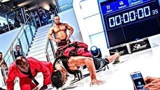 GUINNESS WORLD RECORD FIBO 2015 | 48 One Arm Push Ups carrying 40-lb pack in one min. Farid Berlin