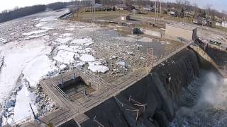 Ballville Dam ice jam release filmed with aerial drone