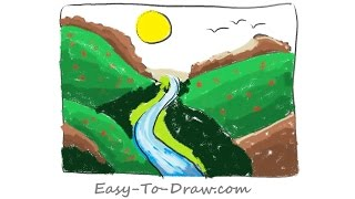 How to draw a plentiful cartoon river valley - Free & Easy Tutorial for Kids