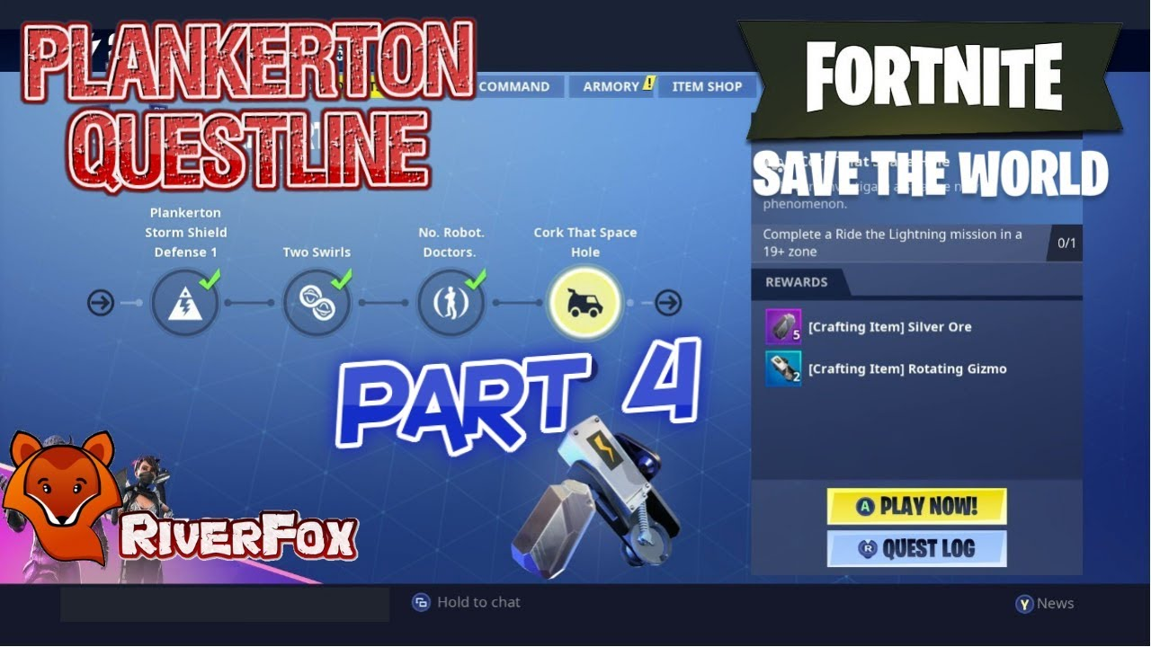 Fortnite Save The World Customize Team Chat Fortnite Save The World Stw Plankerton Part 4 Cork That Space Hole By Riverfox Gaming