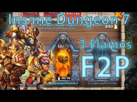 Castle Clash: 3-Flaming All Insane Dungeon 7 (1-10) F2P [840 Flames]