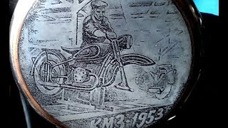 Engraving. Casserole for motorcycle